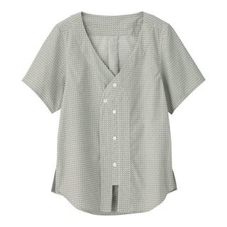 ジーユー(GU)のGU キムジョーンズ ベースボールシャツ オリーブ(シャツ/ブラウス(半袖/袖なし))