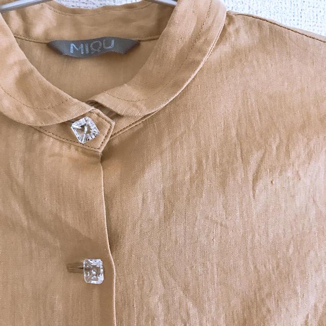 H.P.FRANCE(アッシュペーフランス)の値下げ MIQU リネンブラウス  一点物 美品 レディースのトップス(シャツ/ブラウス(半袖/袖なし))の商品写真