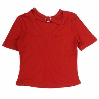 スピンズ(SPINNS)のspinns 半袖チョーカーカットソー レッド(カットソー(半袖/袖なし))