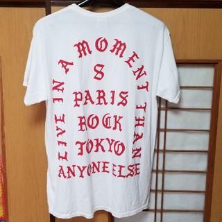 プラスエイトパリスロック(=+8PARIS ROCK)の=+8パリスロックTシャツ 白×赤(Tシャツ/カットソー(半袖/袖なし))