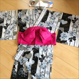 シマムラ(しまむら)の南明奈プロデュース 浴衣 白 黒 ストライプ 帯 ピンク 大人浴衣(浴衣)