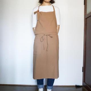【新品】送料無料 リネン ロング エプロン 男女兼用 茶色(その他)