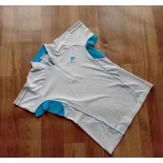 アディダス(adidas)のadidas アディダス■ ストレッチ・半袖トレーニングウェア ■白×水色■ M(Tシャツ(半袖/袖なし))