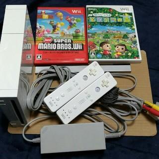 ウィー(Wii)のWii 一式とマリオどうぶつの森(家庭用ゲーム本体)