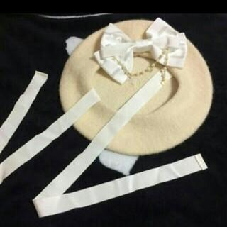 ベイビーザスターズシャインブライト(BABY,THE STARS SHINE BRIGHT)の❤BABY❤パールチェーンつきおリボンベレー帽❤未使用・美品❤(ハンチング/ベレー帽)