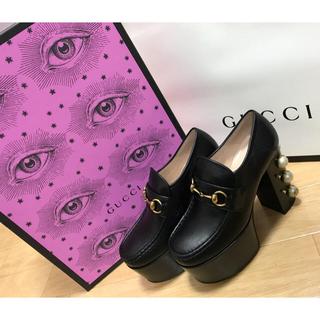 グッチ(Gucci)のGUCCI スタッズ付きホースビットレザーローファー(ローファー/革靴)