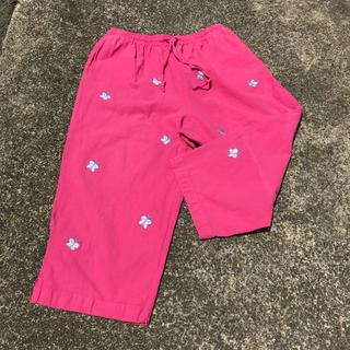 パナマボーイ(PANAMA BOY)のused イージーパンツ リラックスパンツ pink 蝶 butterfly(カジュアルパンツ)