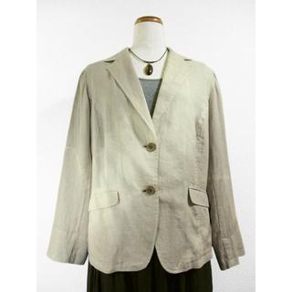 麻のサマージャケット(斜め絞り染・ベージュグレー色濃淡)(テーラードジャケット)