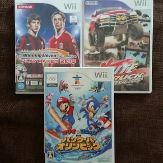 ウィー(Wii)のWii✳ゲーム3枚セット✳マリオ&ソニック、エキサイトトラック、サッカー(家庭用ゲームソフト)