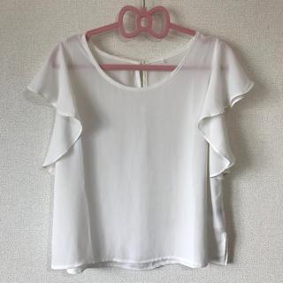 シマムラ(しまむら)の袖フリル トップス Mサイズ(カットソー(半袖/袖なし))