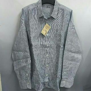 MUJI (無印良品) - 新品 無印良品 フレンチリネン洗いざらし ストライプシャツ・ネイビー・L