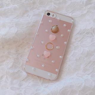 iPhone ケース ハンドメイド パール ハート(スマホケース)