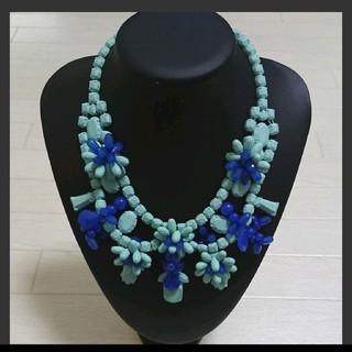 ザラ(ZARA)の美品  ZARA  ネックレス  フラワーモチーフ  ブルー系(ネックレス)