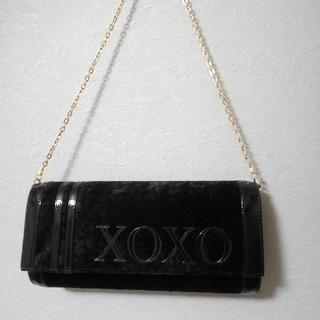キスキス(XOXO)の【未使用品】チェーンバッグ 黒 ベロア クラッチバッグ XOXO(ショルダーバッグ)