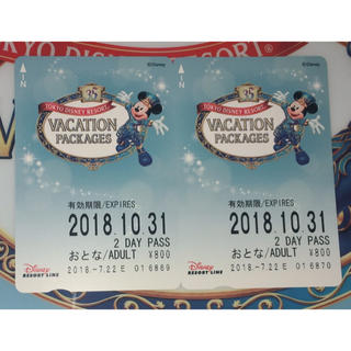 ディズニー(Disney)のディズニーリゾートライン 2デイ 大人2枚(鉄道乗車券)
