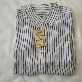 MUJI (無印良品) - 新品 無印良品 リネン ストライプシャツ M