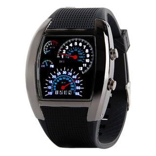 LED新デジタル腕時計 メンズ最新アイテム 輸入品 ブラック(ラバーベルト)