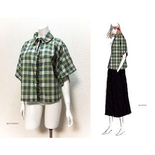 【1点もの・デザイン画付き】着物袖ゆったりチェックブラウス(ひざ丈ワンピース)