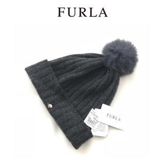 フルラ(Furla)のFIRLA☆フルラ  ★   カシミヤ  ニット帽  フォックスファー(ニット帽/ビーニー)