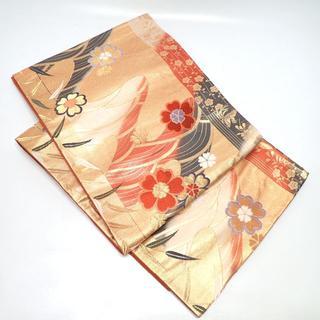 C244 中古 着物帯 袋帯 桜 金 青海波 金糸 4m(帯)