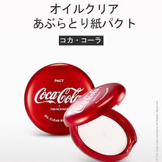 ザフェイスショップ(THE FACE SHOP)の新品未使用✨ザ・フェイスショップ&コカ・コーラコラボコスメ あぶらとり紙パクト❤(フェイスパウダー)