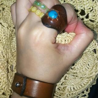 チャイハネ(チャイハネ)の【値下げ】チャイハネ ウェスタンな ターコイズの皮リング(リング(指輪))