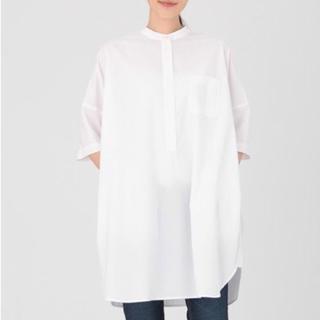 無印良品 スタンドカラー 洗いざらし 七分袖 チュニック シャツ