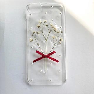 ハンドメイド iphoneケース かすみ草(スマホケース)