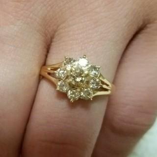 ダイヤモンド0.7カラット K18イエローゴールドフラワーモチーフリング 12号(リング(指輪))