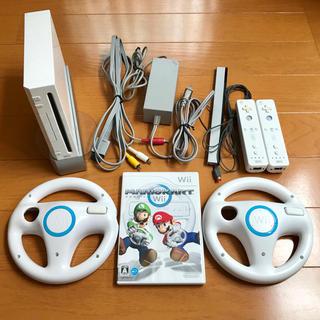 Wii - wii本体セット+マリオカート ハンドル2個付き