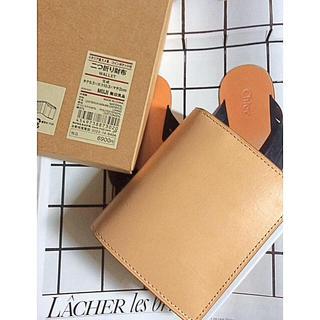 MUJI (無印良品) - 【新品】MUJI イタリア産ヌメ革  コインポケット付き二つ折り財布