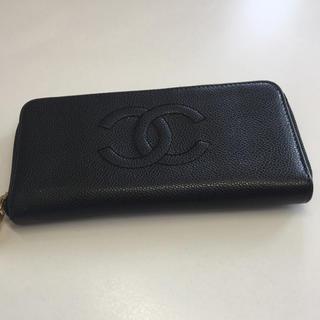 シャネル(CHANEL)のシャネル キャビアスキン ラウンドジップ レディース長財布 美品 正規品(財布)