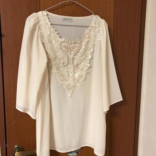 エスプリ(Esprit)のESPRITMUR (エスプリミュール)オフホワイト 5分袖 ブラウス(シャツ/ブラウス(半袖/袖なし))