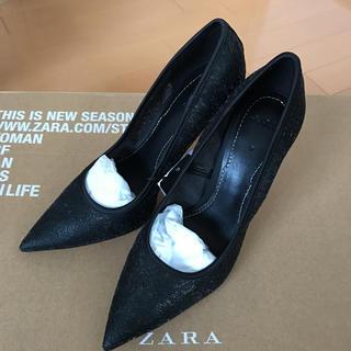 ZARA - ザラ レースパンプス 37 ブラック 新品