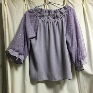 シマムラ(しまむら)のしまむら うす紫ドットトップス(カットソー(半袖/袖なし))