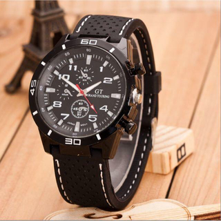 ■迅速対応☆送料込■新品♪GTモデル デザイン腕時計★シンプルアナログスポーツ(ラバーベルト)
