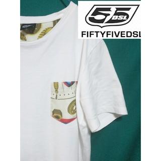 フィフティーファイブディーエスエル(55DSL)の清涼感あるDIESELホワイトTシャツ  サイズM ディーゼル ポケット付き(Tシャツ/カットソー(半袖/袖なし))