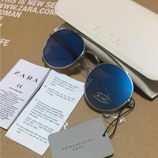 ザラ(ZARA)の完売品 ザラ サングラス メタリック シルバー ラウンド キャット KBF(サングラス/メガネ)