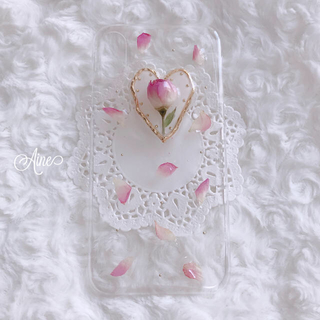 Aine♥ ローズ iPhoneケース iPhonex ドライフラワー バラ(スマホケース)