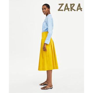 ザラ(ZARA)のsale!新品タグ付☆ZARAザラ☆ステッチ入ワイドプリーツスカート(ロングスカート)