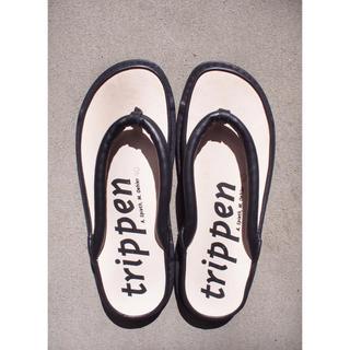 """トリッペン(trippen)の❤️希少【trippen】Black leather""""Zori""""(下駄/草履)"""