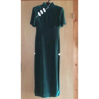 日本製!TOKYO ROSAのバブル期♡グリーンラメ☆チャイナドレス