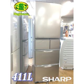 SHARP - シャープ 411L 5ドア冷凍冷蔵庫 エコモード 自動製氷機付き 右開き