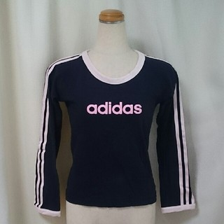 アディダス(adidas)のだだんだん様専用 adidas アディダス 長袖 Tシャツ 紺色 ピンク  (Tシャツ(長袖/七分))