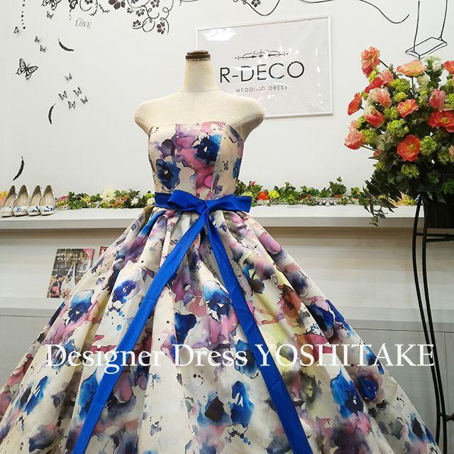 ウエディングドレス(パニエ無料) 水彩画風プリント柄 披露宴/二次会 レディースのフォーマル/ドレス(ウェディングドレス)の商品写真