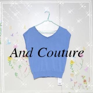 アンドクチュール(And Couture)の401.【新品タグ付き】And Couture♡Vネック3連ノースリプルオーバー(ニット/セーター)
