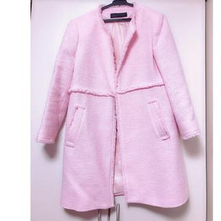ザラ(ZARA)のコート zara ピンク ツイードコート さえこさん 失恋ショコラティエ 風(ロングコート)