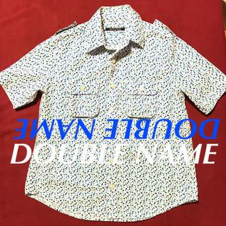 ダブルネーム(DOUBLE NAME)のダブルネーム レイカズン 半袖 シャツ ドット ブラウス エポレットブルー (シャツ/ブラウス(半袖/袖なし))