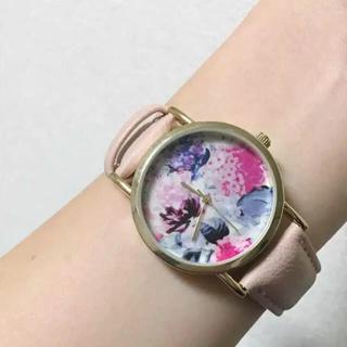 ザラ(ZARA)の腕時計 花柄 ピンク ベージュ(腕時計)