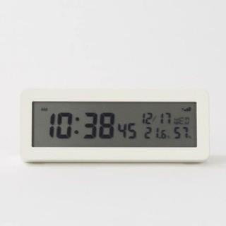 ムジルシリョウヒン(MUJI (無印良品))の●新品未使用● 無印良品デジタル電波時計(大音量アラーム機能つき)/ホワイト(置時計)